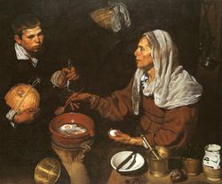 La anciana que cocina los huevos
